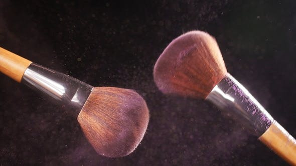 Thumbnail for Cosmetic Brush with Pink Cosmetic Powder