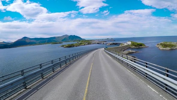 Thumbnail for Driving a Car on a Road in Norway Atlantic Ocean Road or the Atlantic Road