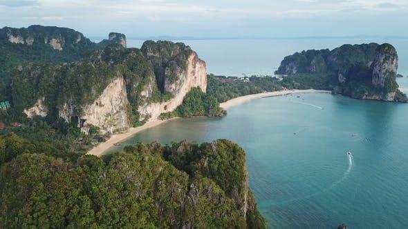 Thumbnail for Aerial Panorama of Sea and Rocks in Krabi