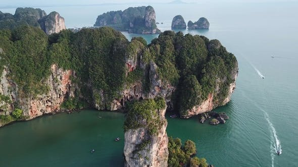Thumbnail for Aerial View of Tropical Lagoon Beach Between Rocks