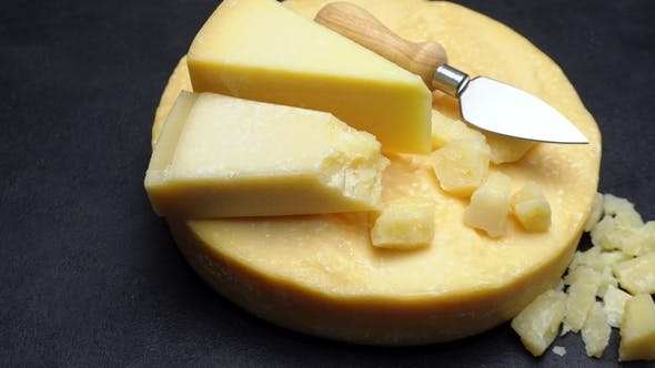 Cover Image for Video Whole Round Head of Parmesan or Parmigiano Hard Cheese