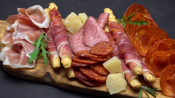 Thumbnail for Video of Italian Meat Plate - Sliced Prosciutto, Sausage, Grissini and Parmesan