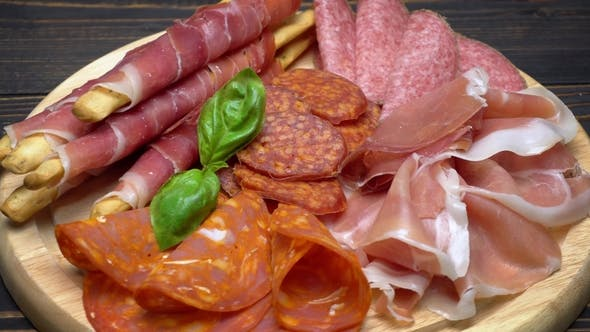 Thumbnail for Video of Italian Meat Plate - Sliced Prosciutto, Sausage and Grissini