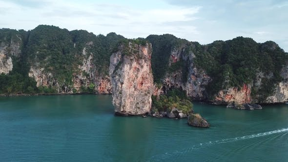 Thumbnail for Aerial of Tropical Beach Rocks and Islands, Railay