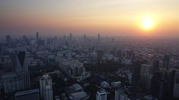 Thumbnail for Aerial Sunset in Bangkok, Thailand