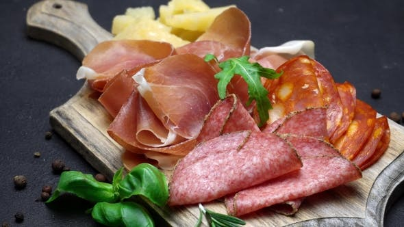 Thumbnail for Video of Italian Meat Plate - Sliced Prosciutto, Sausage and Cheese