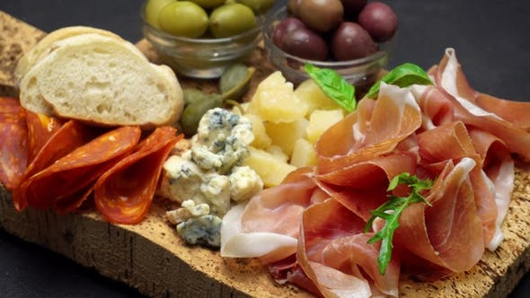 Thumbnail for Traditional Cheese and Meat Plate with Parma, Parmesan and Figs