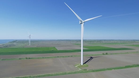 Thumbnail for Wind Power Turbines in the Field. Aerial View