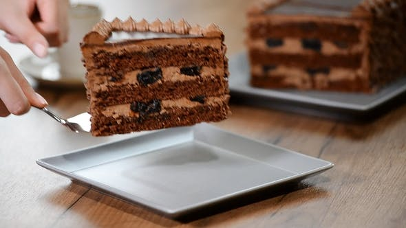 Thumbnail for Put a Piece of Chocolate Cake in a Plate