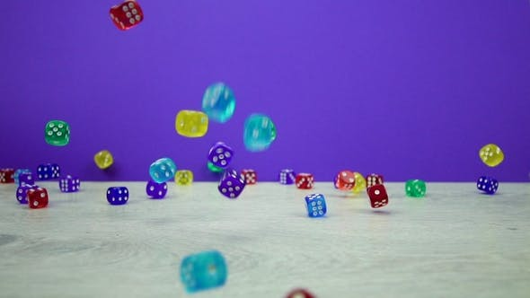 Thumbnail for Multicolored Dice Fall on a Purple Background