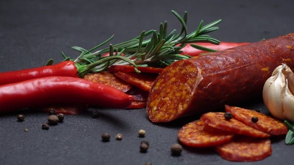 Thumbnail for Salami and Chorizo Sausage  on Dark Concrete Background