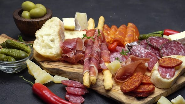 Thumbnail for Meat Plate - Salami and Chorizo Sausage  on a Wood Board