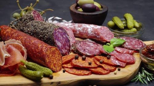 Salami and Chorizo Sausage  on a Wood Board