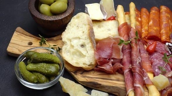 Meat Plate - Salami and Chorizo Sausage  on a Wood Board