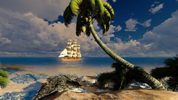 Thumbnail for Sailing Ship In The Bay With Clear Water