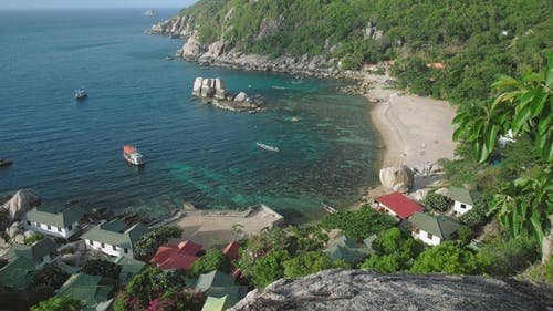 Overview of Amazing Tanote Bay with His Beautiffull Coral Reef, Huge Granite Blocks and Boats at