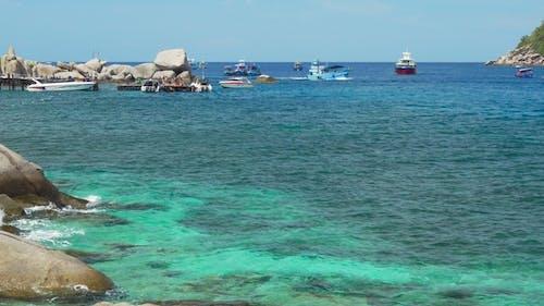Pier with Tourist Boats on Tropical Nang Yuan Island Near Koh Tao. One of the Famous Beach Near Koh