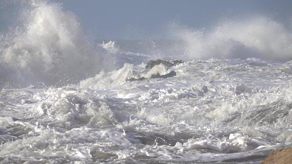 Thumbnail for Splashes Ocean Big Waves Over Cliffs