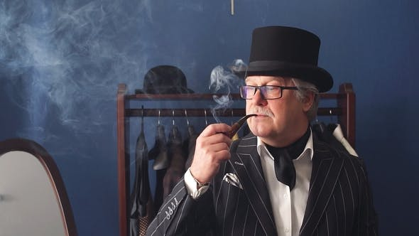Thumbnail for Portrait of Posh Mature Gentleman Visiting a Tailor's Shop.