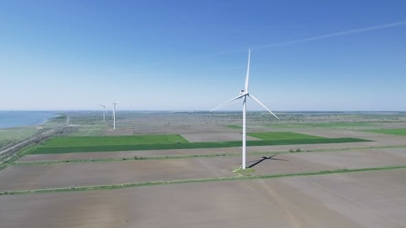 Thumbnail for Wind Electric Generator - Power Stations in Field. Aerial View