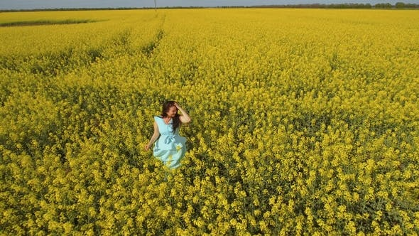 Thumbnail for Beautiful Brunette Wearing Blue Dress Stand Among Yellow Flowers on the Field