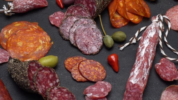 Thumbnail for Salami and Chorizo Sausage  on Dark Concrete Background