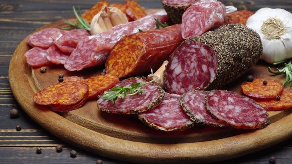 Thumbnail for Salami and Chorizo Sausage  on Wooden Background