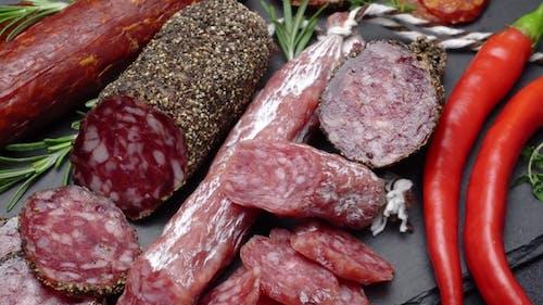 Salami and Chorizo Sausage  on Stone Serving Board