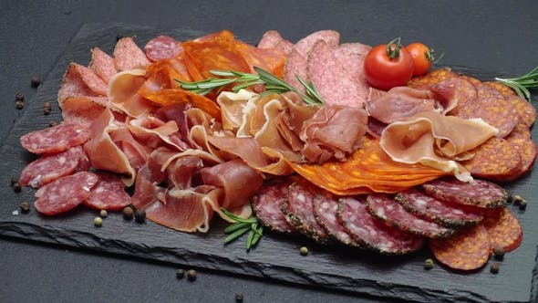 Thumbnail for Meat Plate - Sliced Prosciutto and Salami Sausage on Stone Serving Board