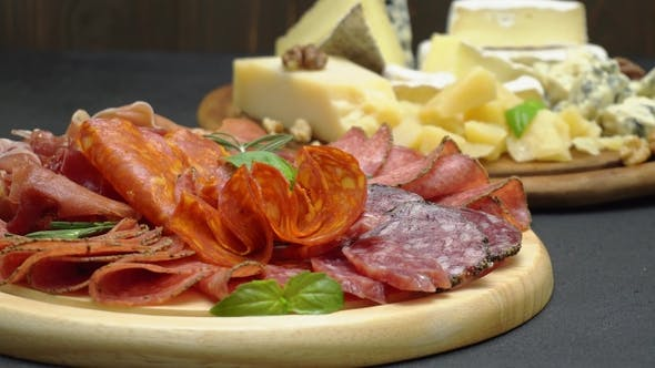 Thumbnail for Meat and Cheese Plate - Sliced Prosciutto, Salami Sausage, Parmesan and Brie