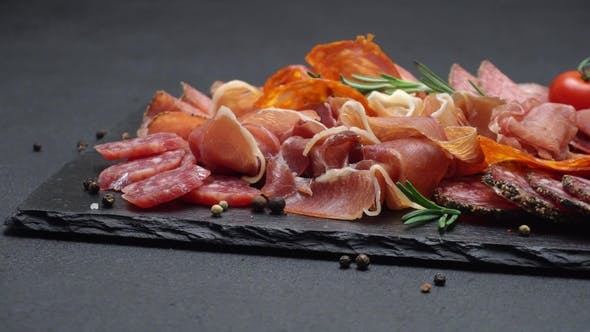 Cover Image for Meat Plate - Sliced Prosciutto and Salami Sausage on Stone Serving Board