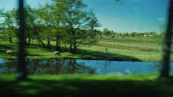 Thumbnail for View from Car Window on the Picturesque Countryside of the Netherlands