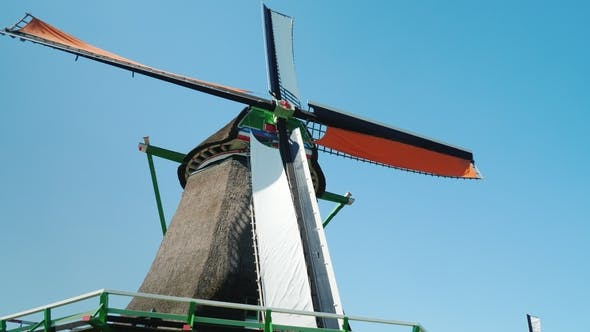 Thumbnail for An Old Dutch Windmill. Against the Background of the Blue Sky