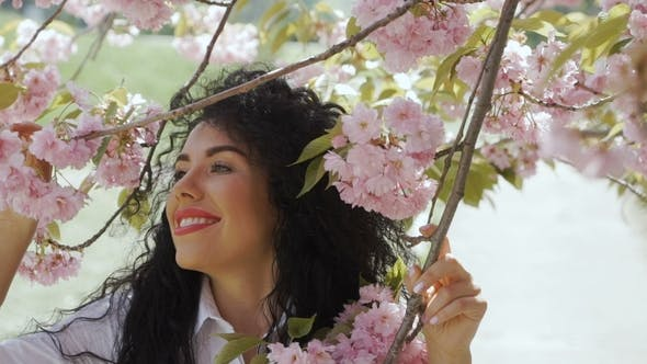 Thumbnail for Beautiful Smiling Brunette Enjoys Sakura Smell