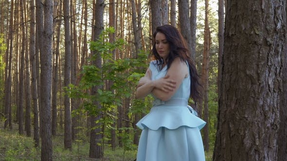 Thumbnail for Beautiful Woman in Blue Dress Wave off from Insects in the Forest