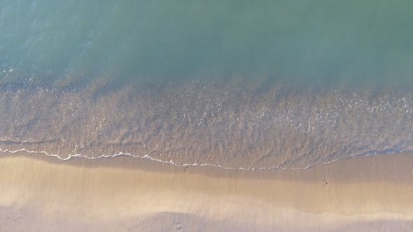 Thumbnail for Narrow Beach Line, Waves and Ocean. Aerial View
