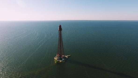 Aerial Shot of a Sky-high Beacon on the Black Sea Shoal in Ukraine in Summer