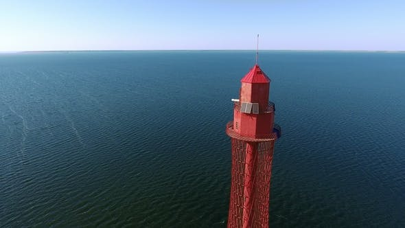 Thumbnail for Aerial Shot of a Gigantic Beacon on the Black Sea Shore in Ukraine in Summer