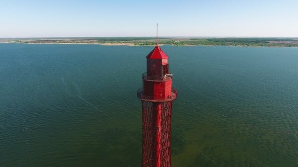 Thumbnail for Aerial Shot of a Towering Lighthouse on the Black Sea Coast in Ukraine in Summer