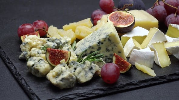 Thumbnail for Video of Roquefort or Dorblu, Brie, and Parmesan Cheese and Fruits