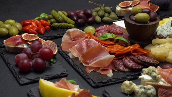 Thumbnail for Various Type of Italian Meal or Snack - Cheese, Sausage, Olives and Parma