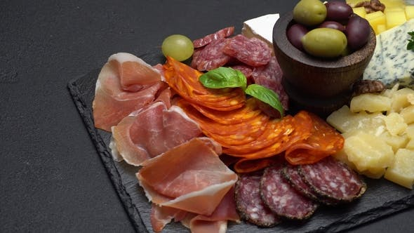 Cover Image for Traditional Meat and Cheese Plate - Parmesan, Meat, Sausage and Olives