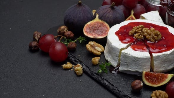 Thumbnail for Camembert Cheese and Walnuts on Stone Serving Board