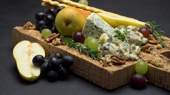 Thumbnail for Blue Cheese and Fruits on Cork Wooden Serving Board