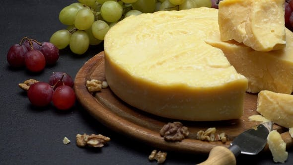 Thumbnail for Whole Round Head Parmesan Cheese, Wine and Grapes