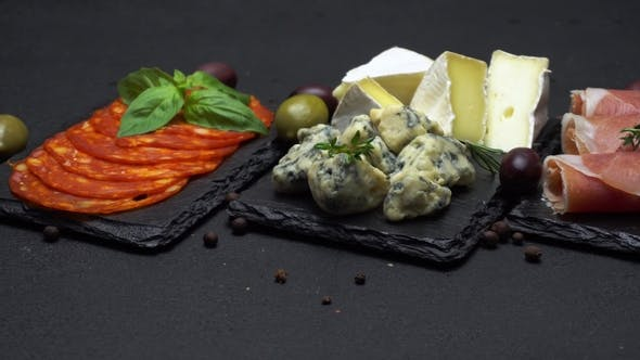 Cover Image for Various Type of Italian Meal or Snack - Cheese, Sausage, Olives and Parma