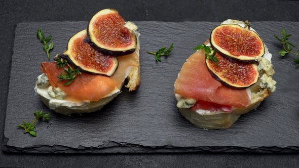 Thumbnail for Bruschetta with Ham, Blue Ceese and Fresh Figs