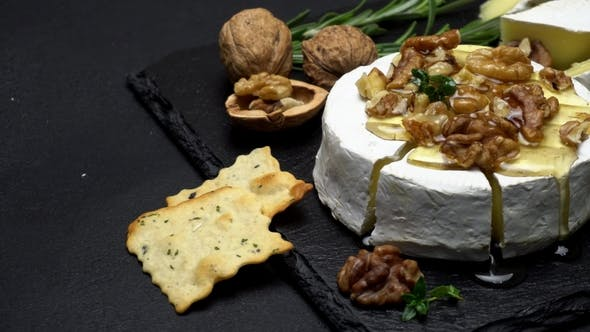 Cover Image for Camembert Cheese and Walnuts on Stone Serving Board