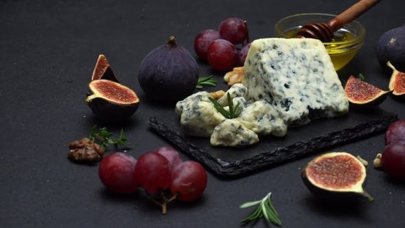 Thumbnail for Slice of French Roquefort Cheese with Figs