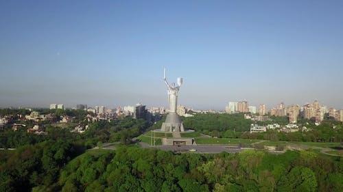 Drone Video of Mother Motherland Monument in Kiev, Ukraine